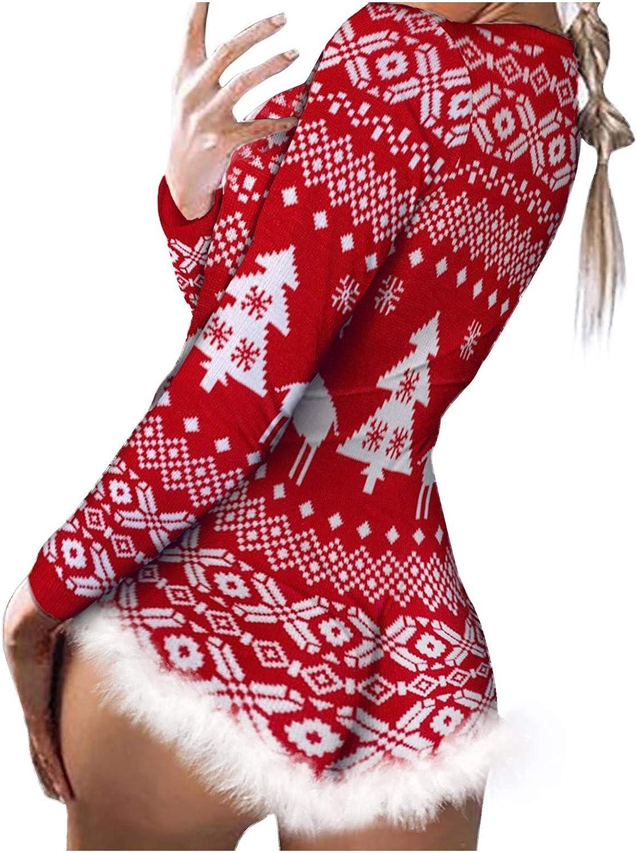 Women Christmas Print Long Sleeve Nightwear Jumpsuit Bodysuit Playsuit Romper for Winter Christmas Janly Clearance Sale Ladies Jumpsuit