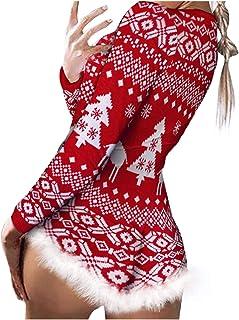 Romper Monos para Mujer Navidad Pijama/Mono Tops Estampados de Manga Larga Ropa de Dormir Jumpsuit Bodysuit Playsuit Romper