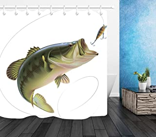 LB Fishing Bass Lure Shower Curtain Set, Fishing Outdoor Sports Theme House Decorations, 70x70 Shower Curtain Set Waterproof