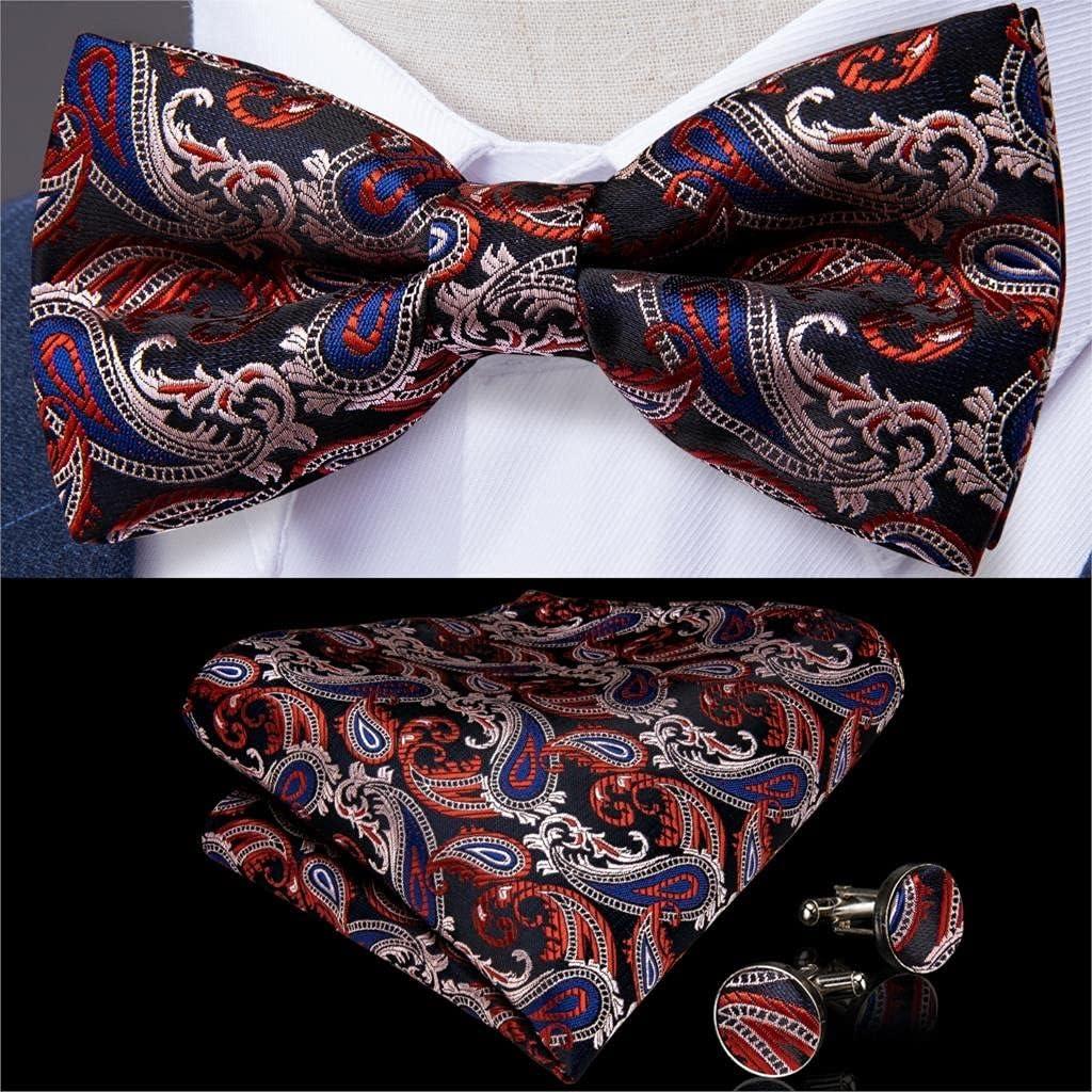 NJBYX Fashion Men's Bowtie Red Blue Silk Jacquard Woven Bowties for Men Butterfly Bowtie Cufflinks