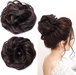 Pema Hair Extensions And Wigs D-Divine Women's and Girl's Synthetic Hair Bun Extension (Natural Brown, 30 gm) -Combo Set of 2