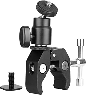 ChromLives Camera Clamp Mount Ball Head Clamp - Super Clamp and Mini Ball Head Hot Shoe Mount Adapter with 1/4-20 Tripod S...
