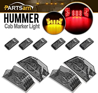 Partsam 264160BK Cab Marker Roof Running Top Light Assembly 65-5050-SMD LED (5pcs Forward Facing Smoke/Amber + 5pcs Rear Facing Smoke/Red) Compatible with Hummer H2 SUV SUT 2003-2009
