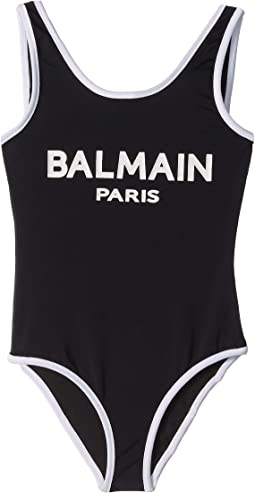 One-Piece Logo Swimsuit w/ Contrast Trim (Little Kids/Big Kids)