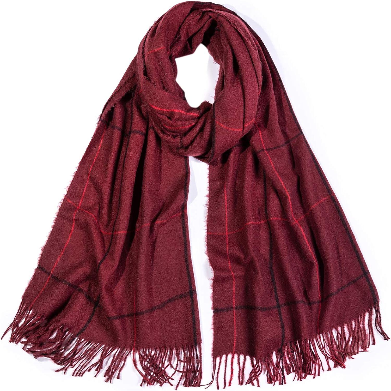 SOJOS Plaid Scarf Warm Soft Women's Fashion Long Shawl Grid Winter Warm Lattice Large Scarves SC329