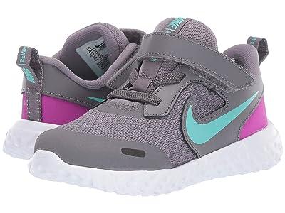 Nike Kids Revolution 5 (Infant/Toddler) (Gunsmoke/Aurora Green/Hyper Violet) Girls Shoes