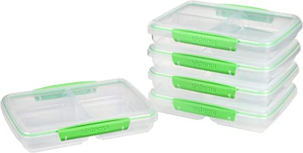 Sistema to Go Multi Split Meal & Food Prep Containers | with Dividers & Clips | 820ml | BPA-Free | 5 Food Storage Containe...