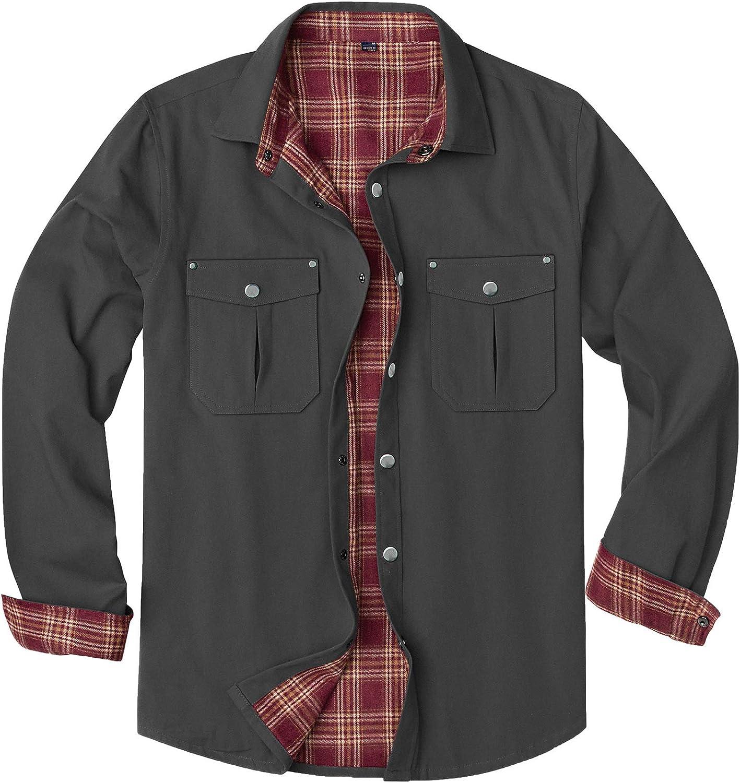 Alimens & Gentle Men's Long Sleeve Snap Flannel Lined Shirt Jacket