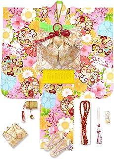 七五三 7歳 着物 フルセット 女の子 式部浪漫 ブランド 子供着物 結び帯セット 合繊 選べる帯「ピンク 桜と梅」SSB10-set
