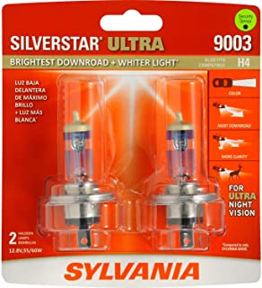 SYLVANIA - 9003 SilverStar Ultra - High Performance Halogen Headlight Bulb, High Beam, Low Beam and Fog Replacement Bulb, Brightest Downroad with Whiter Light, Tri-Band Technology (Contains 2 Bulbs)