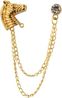 Knighthood Gold Horse مع سلسلة وSwarovski التلبيب دبوس شارة معطف دعوى زفاف هدية حفلة قميص طوق اكسسوارات بروش للرجال