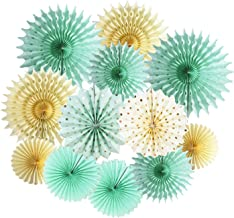 Mint Gold Party Decorations Mint Cream Gold Polka Dot Paper Fans for Trial Baby Shower Decorations Mint Gold Wedding/Mint ...
