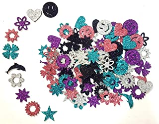 "Kochartz Multicolored Glitter Eva Foam 1"" Self Adhesive Different Shapes And Designs Stickers For Art & Craft Decoration-(10 Packs/100 Pcs.)"