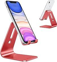 [به روز شده نسخه جامع] OMOTON دسکتاپ تلفن همراه پایه قرص، پیشرفته 4 میلی متر ضخامت آلومینیوم پایه دار برای تلفن همراه و قرص (تا 10.1 اینچ)، قرمز