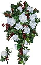 Winter Berry Rose Bridal Cascade + Matching Boutonniere - Silk Wedding Flower Bouquet- Ivory Red Christmas