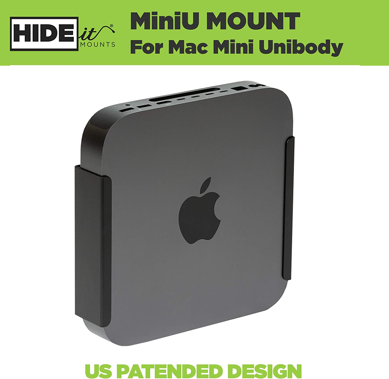 HIDEit Mounts MiniU Mac Mini Mount, Custom Mount for Mac Mini Black, Heavy Steel Mac Mini Dock, Under Desk Mount and VESA Mount