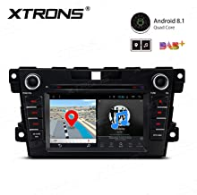 XTRONS Android 8.1 Car Stereo Radio DVD Player 7 Inch Touch Screen Double Din GPS Navigation Bluetooth Head Unit Supports OBD2 DVR Backup Camera WiFi USB SD Full RCA Output for Mazda CX-7