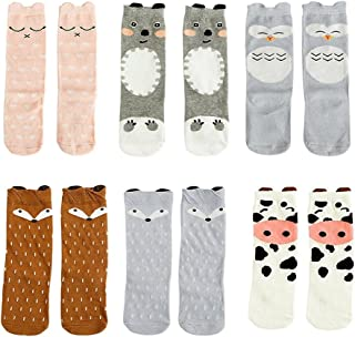 6 Pairs Unisex Baby Girls Boys Kids Toddler Socks Knee High Socks Animal Baby Stockings