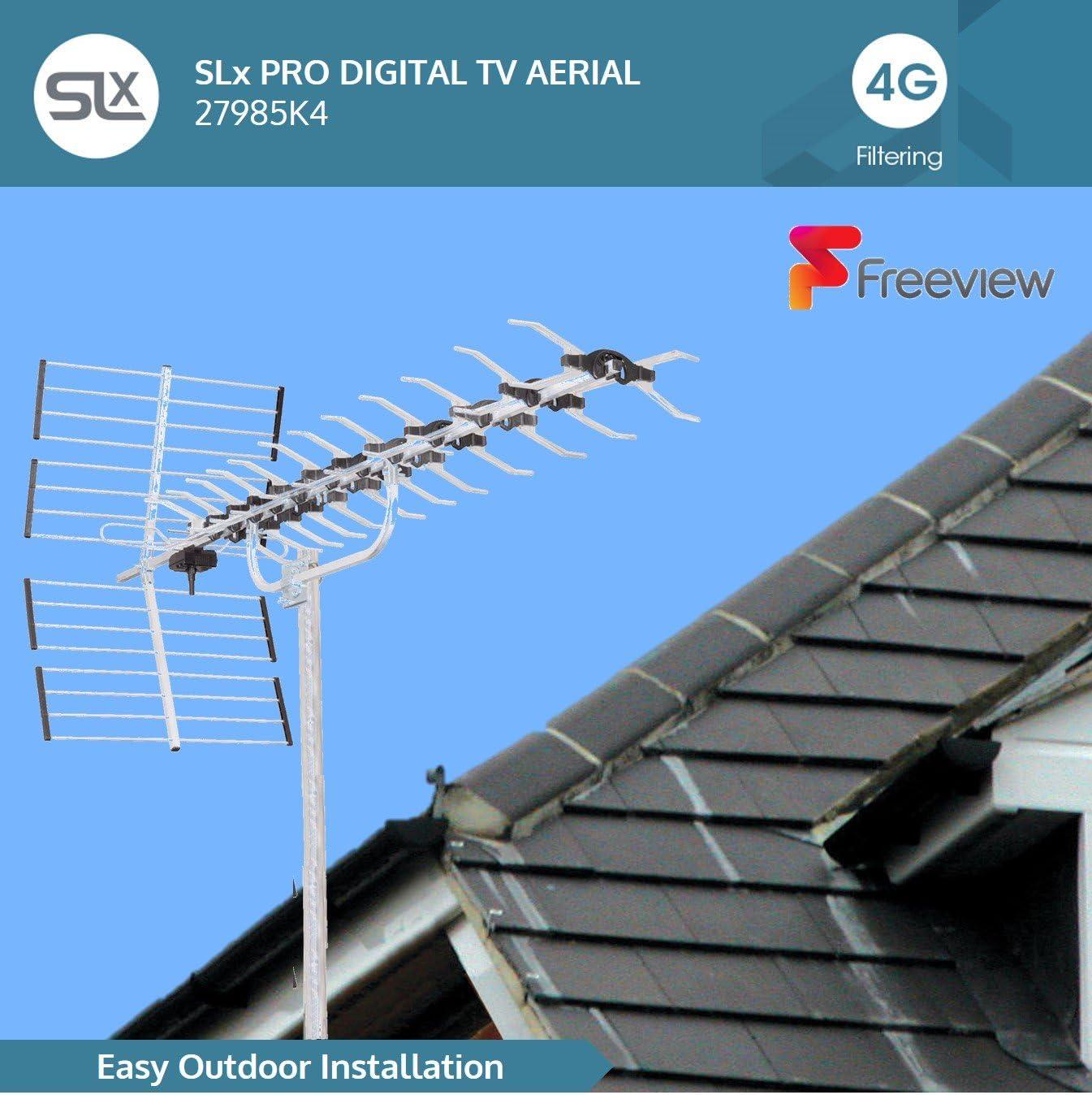 SLx 27985K4 - Juego de antena dorada y accesorios de conexión para televisión digital (4G, 64 elementos) (importado)