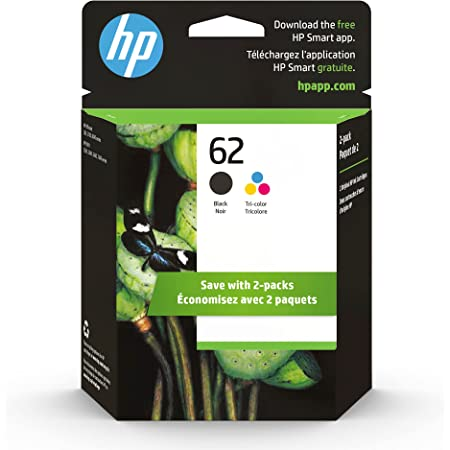 HP 62   2 Ink Cartridges   Black, Tri-color   Works with HP ENVY 5500 Series, 5600 Series, 7600 Series, HP OfficeJet 200, 250, 258, 5700 Series, 8040   C2P04AN, C2P06AN