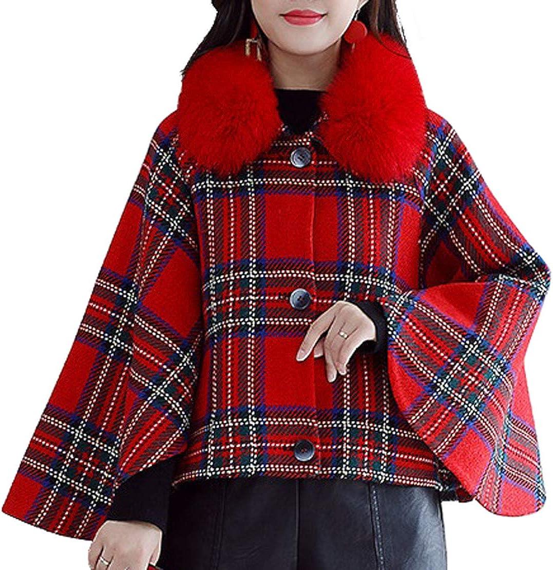 CHARTOU Women's Detachable Faux Fur Collar Wool Blend Plaid Poncho Short Coat