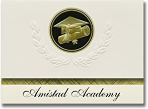 Signature Announcements Amistad Academy (New Haven, CT) Graduation Announcements, Presidential style, Basic package of 25 Cap & Diploma Seal. Black & Gold.