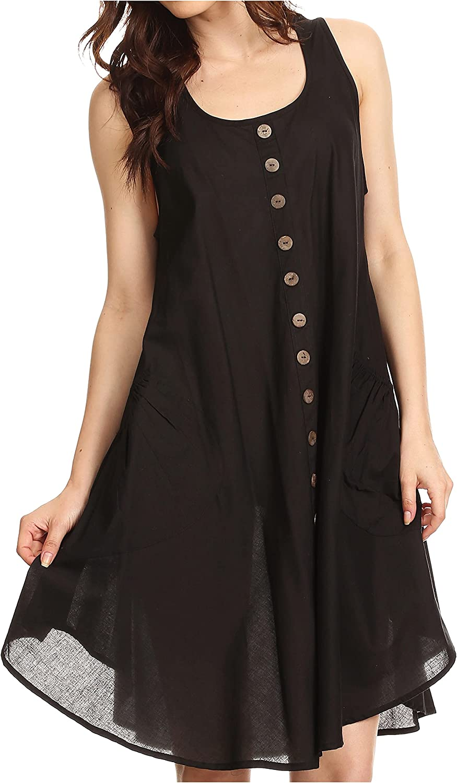 Sakkas Lina Mid Length Casual Summer Tent Swing Sleeveless Dress with Pockets