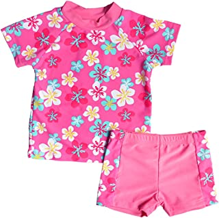BAOHULU Little Girls' Floral Swimwear Beach Suit Rash Guard 2 Piece Set