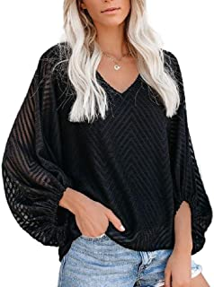 Jmwss QD Womens Blouse Fall Autumn Relaxed Fit Balloon-Sleeve V-Neck Stylish T Shirt