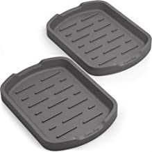Good to Good Silicone Organizer Tray Set of 2 - Multipurpose use like kitchen sponge holder, spoon rests, bathroom soap dishes, cooking utensils rest - Grey