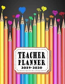 Teacher Planner: Vertical Academic Year Lesson Plan Calendar 8 Period Full Year Happy Colored Pencils (Lesson Plan Books For Teachers 2019-2020)