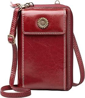WACCET Handy Umhängetasche Damen, Geldbörse Handytasche zum Umhängen mit 15 Kartenfächer Viele Fächer Crossbody Tasche Han...