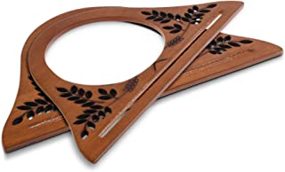 Beautyflier 1 Pair of Solid Wooden Oval Shaped Handles Replacement With Leaf Hollow Pattern For Handmade Bag Handbags Purse Handle Charming Frame Canvas Shopping Tote