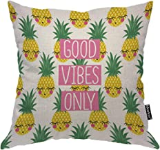 Moslion Pineapple Pillow Home Decorative Throw Pillow Cover Case Shy Pineapple Mirror Satin Square Cushion Cover Standard Pillow Case for Men Women Boy Girls Kid Sofa Bedroom Livingroom 18x18,Yellow