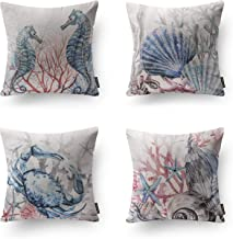 Phantoscope Set of 4 Ocean Theme Park Decorative Sea Horse Turtle Crab Throw Pillow Case Cushion Cover 18 x 18 inches 45cm x 45cm