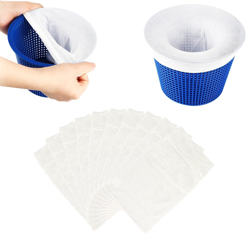 COOLWEST Calcetines para Skimmer de Piscina, 10 unidades Blancos Filtro skimmer de piscina de tela de nailon elástico duradero para cesta de piscina, Red para piscina skimmer para limpieza de piscinas
