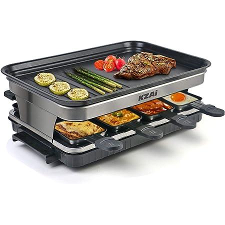 Appareil a Raclette 8 Personnes Machine a Raclette avec 8 Mini Coupelle Raclette Spatules, Thermostat Revêtement Antiadhésif, 1500W