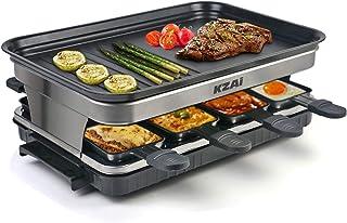 Appareil a Raclette 8 Personnes Machine a Raclette avec 8 Mini Coupelle Raclette Spatules, Thermostat Revêtement Antiadhés...