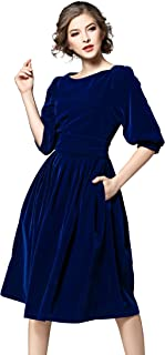 LAI MENG FIVE CATS Women's Vintage 3/4 Sleeves Velvet Belted Tunic Swing A-Line Dress