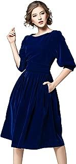 Women's Vintage 3/4 Sleeves Velvet Belted Tunic Swing A-Line Dress