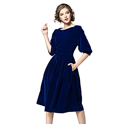39f54a3bfb0bcc Women s Vintage 3 4 Sleeves Velvet Belted Tunic Swing A-Line Dress