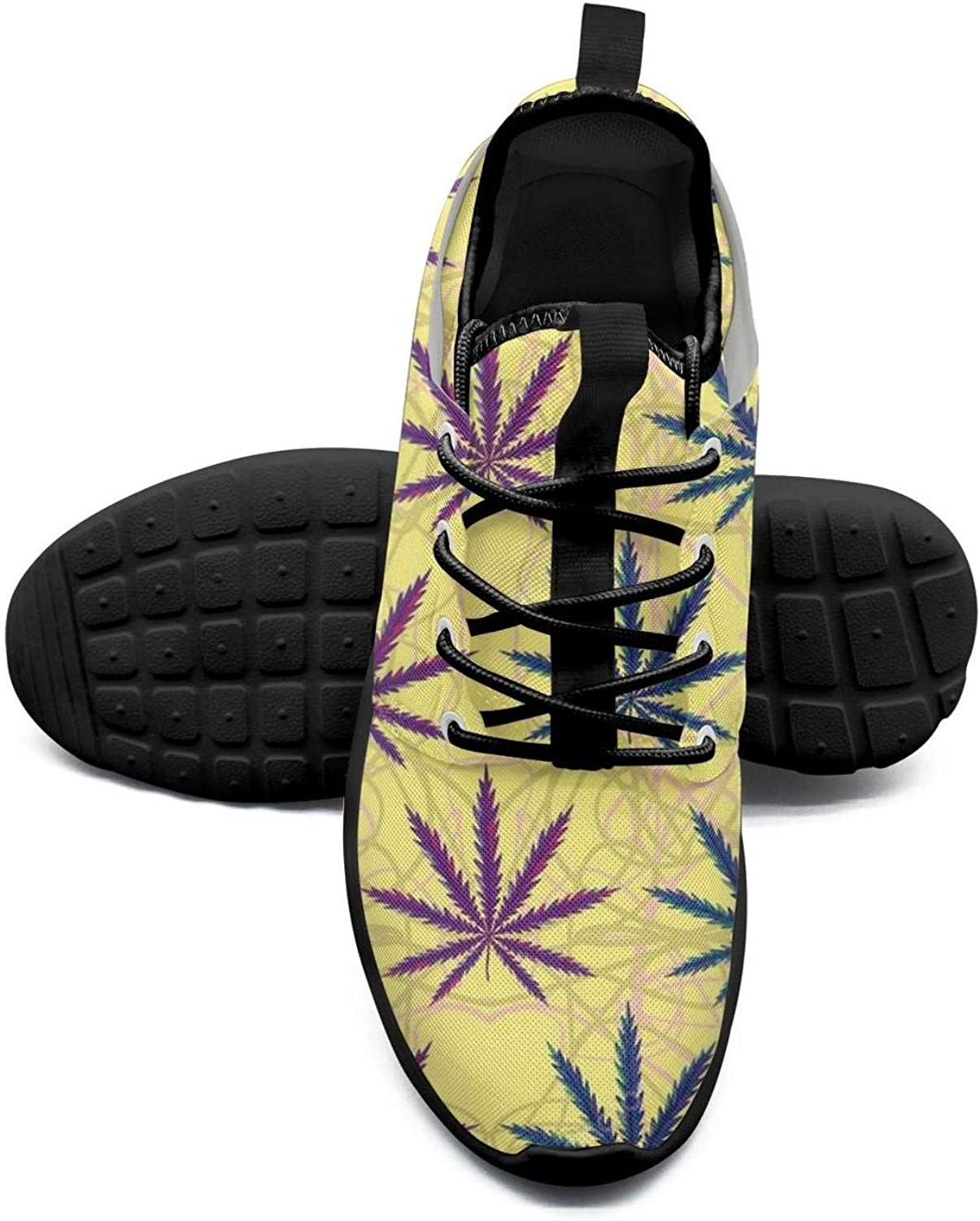 Gjsonmv Marijuana Cannabis Skulls mesh Lightweight shoes Women Non Slip Sports Trail Running Sneakers shoes
