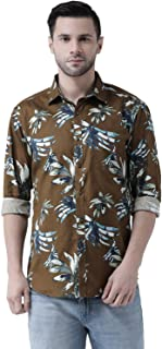 Zeal Shirts for Mens Full Sleeves Casual Regular fit Floral Printed Cotton Look Beach Wear Festive Military Green