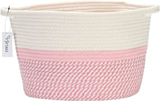Hinwo Oval Cotton Rope Storage Basket Collapsible Nursery Storage Box Container Organizer with Handles, 13 x 10 inches, Of...