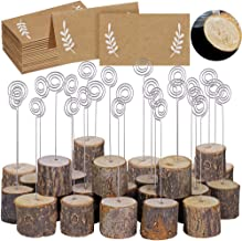 30 Pcs Rustic Wood Place Card Holders with Swirl Wire Wooden Bark Memo Holder Stand Card Photo Picture Note Clip Holders 5.8