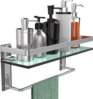 GeekDigg Bathroom Shelf, Tempered Glass Floating Shelves Wall Mounted Storage Shelves with Towel Bar (1 Tier)