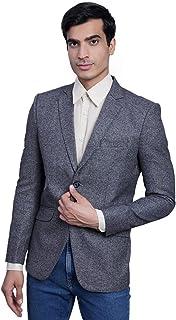 WINTAGE Men's Tweed Casual and Festive Blazer Coat Jacket : Grey, X-Small