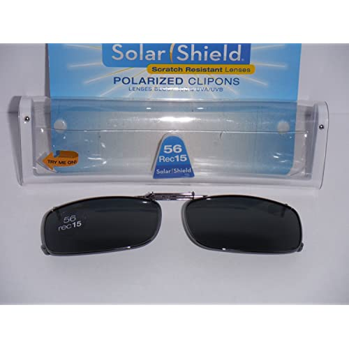 2f698f5364 Solarshield Polarized Clip-on Sunglasses 56 Rec 15 Full Frame Gray Lenses