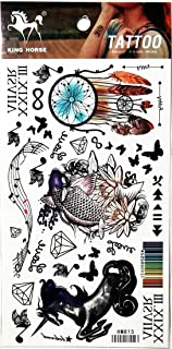 PP TATTOO 1 Sheet Unicorn Japanese koi Fish Indian Feather Fashionable Henna Temporary Tattoos Make up Neck Shoulder Upper arm Thigh Waterproof Stickers for Men Women Sexy Body Art