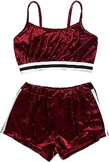 Womens Spaghetti Straps Bralette Side Stripe Velvet Top Shorts Two Piece Matching Set
